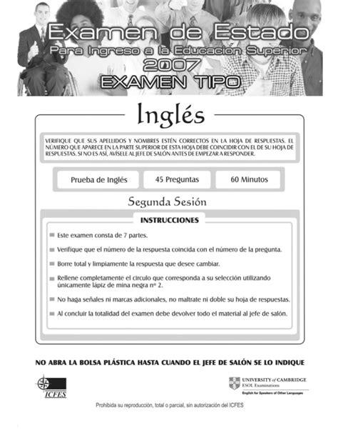 preguntas en ingles icfes ingles icfes 2007