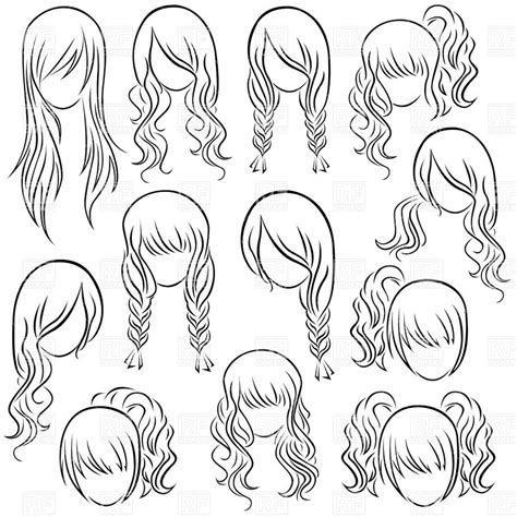 free coloring pages of manga hair styles