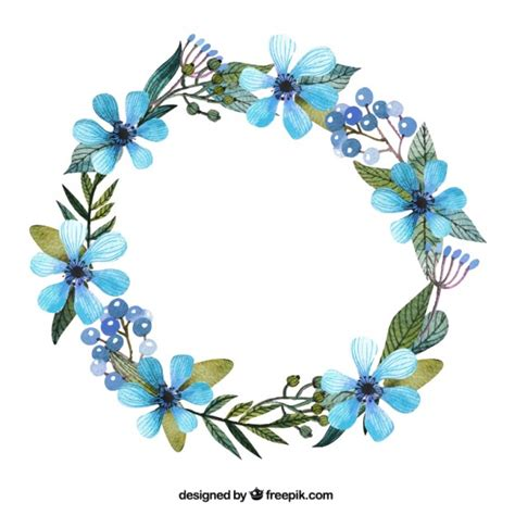 printable pictures of blue flowers wreath with blue flowers free vector 관심 pinterest