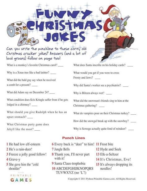 printable funny jokes 44 best christmas printable games images on pinterest