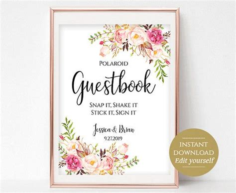 Polaroid Guestbook Sign Template Printable Guest Book Wedding Photo Guestbook Instant Download Polaroid Guest Book Sign Template