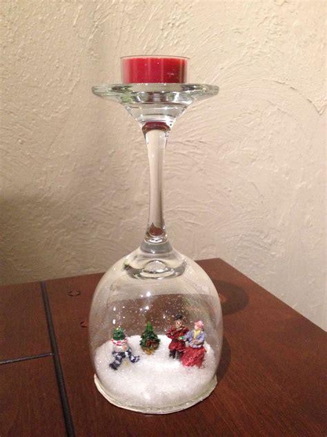 christmas wine glass snow globe christmas pinterest