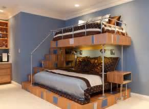 Unique bunk beds kids contemporary with blue bedding blue walls