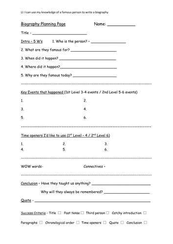 biography planning template writing a biography by karenarthurs91 teaching resources