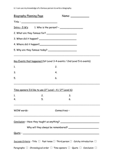 biography templates ks2 writing a biography by karenarthurs91 teaching resources