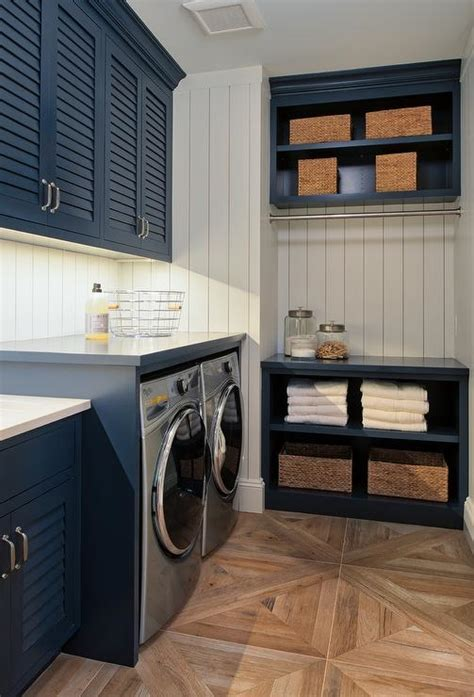 Blue Louvered Laundry Room Cabinets   Cottage   Laundry Room