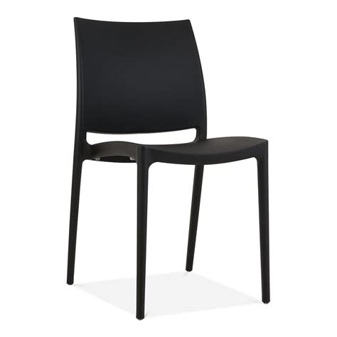 Black Eden Plastic Outdoor Chair   Modern Garden Furniture