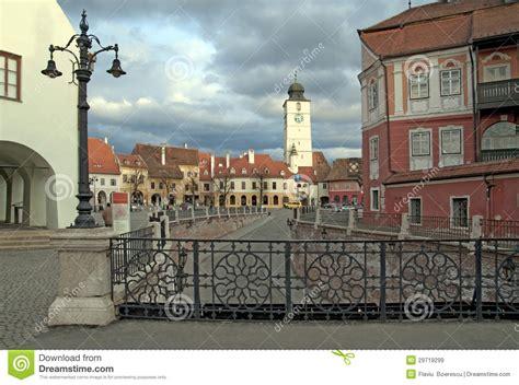 big tower tiny square sibiu romania royalty free stock images image 29719299