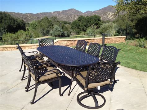 Powder Coated Aluminum Patio Furniture with Nassau Cast Aluminum Powder Coated 9pc Outdoor Patio Set With 42 Quot X102 Quot Oval Table Antique Bronze