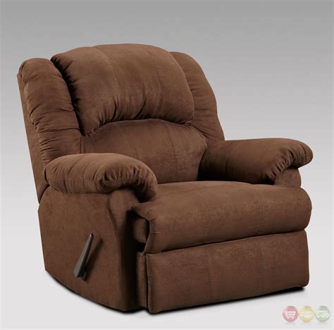 Rocker Recliner Chair by Aruba Chocolate Brown Fabric Rocker Recliner Casual Reclining Arm Chair