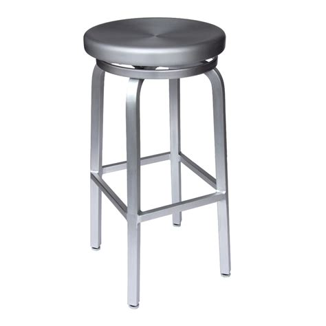 brushed aluminum bar stool micazza brushed aluminum navy backless swivel bar stool at