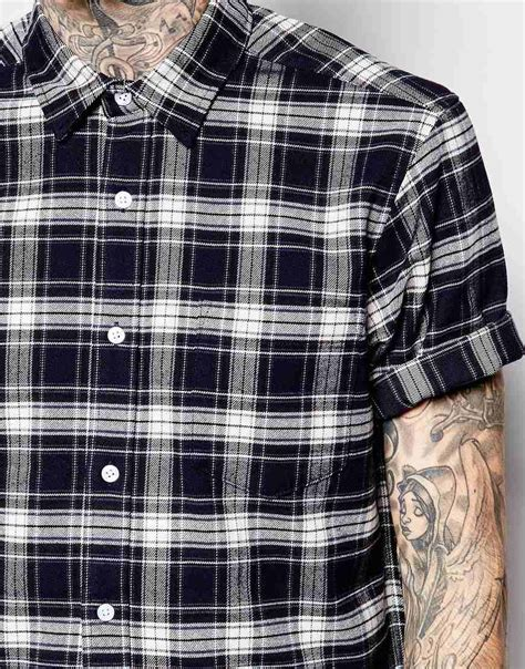 Plaid Longline Wood Button Shirt lyst asos longline shirt with navy flannel check in