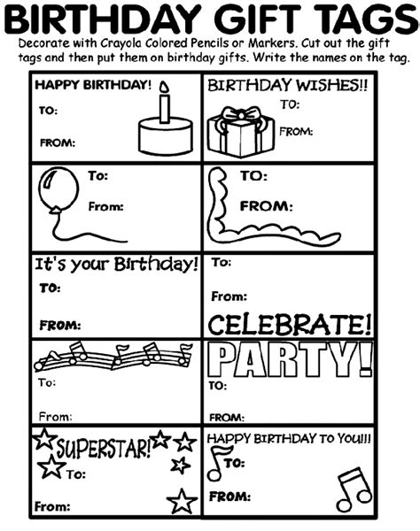 free printable gift tags to color birthday gift tags coloring page crayola com