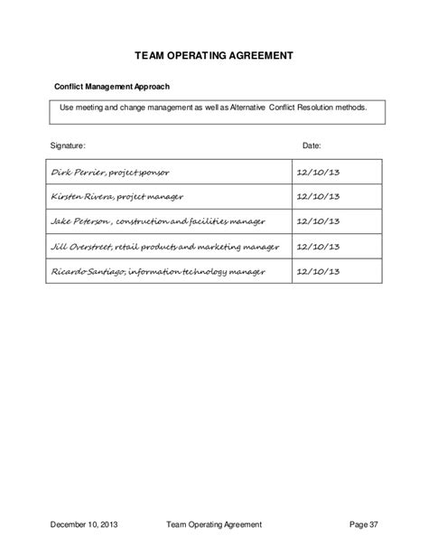 team operating agreement template team operating