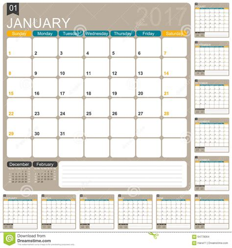 calendrier anglais 2017 illustration de vecteur image