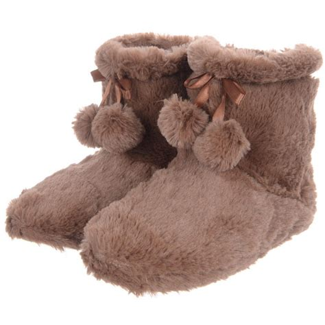 fur booties slippers fluffy cosy faux fur fleece lined ankle booties