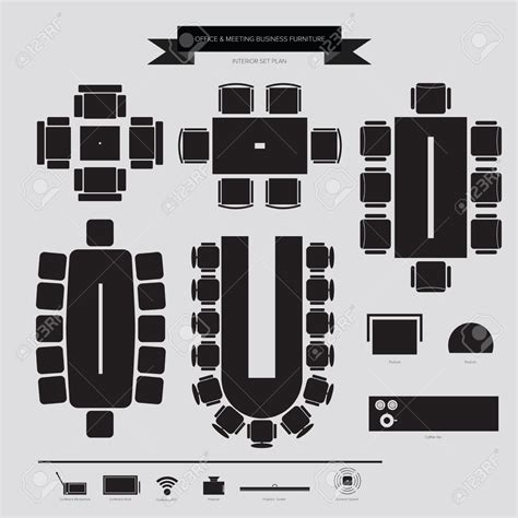 layout plan vector office furniture layout clipart 33