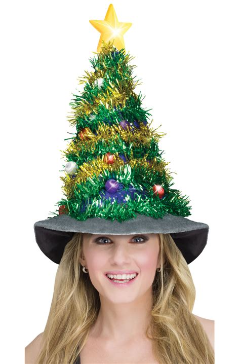 light up christmas tree hat accessory purecostumes com