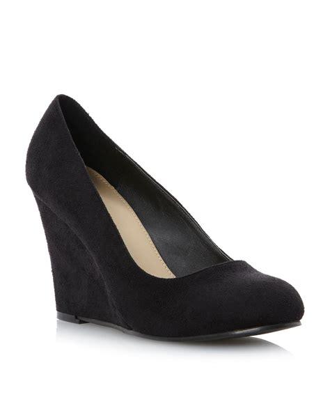 black high heeled wedges linea adlington high heel wedge court shoes in black lyst