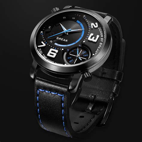 New Fashion Time Leather new top luxury sports fashion style dual time zone quartz wristwatches leather band