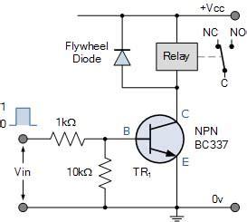 transistor npn kecil rangkaian penggerak relay elektrologi
