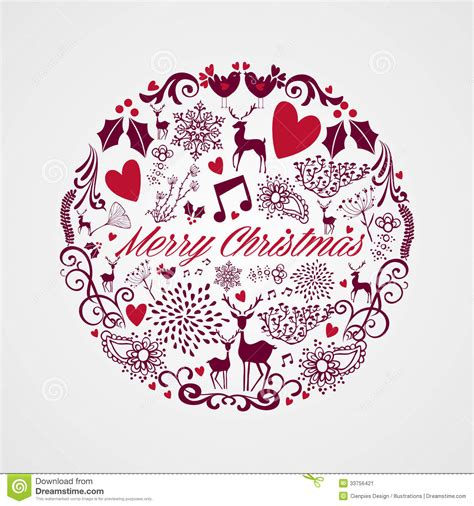 merry christmas circle shape full  elements comp stock vector image