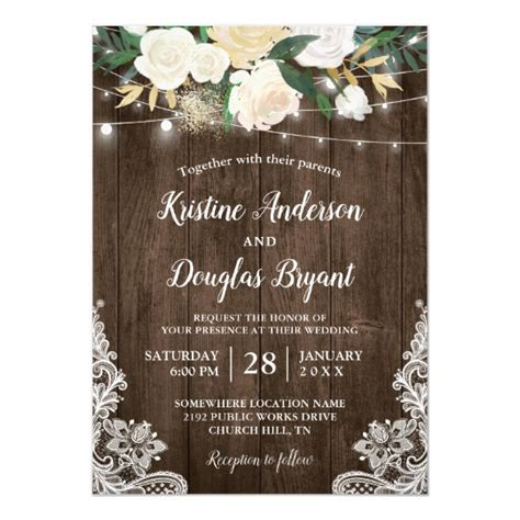 rustic country chic floral string lights wedding invitation zazzle au