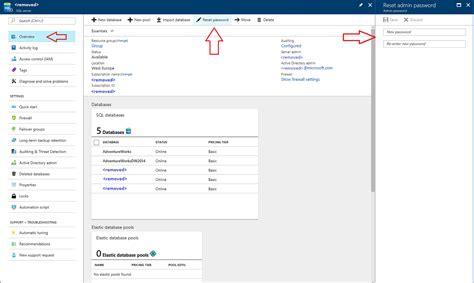 resetting windows update database reset lost admin account password azure sql database support