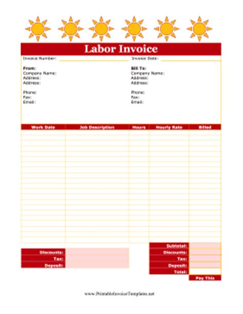 cute labor invoice template