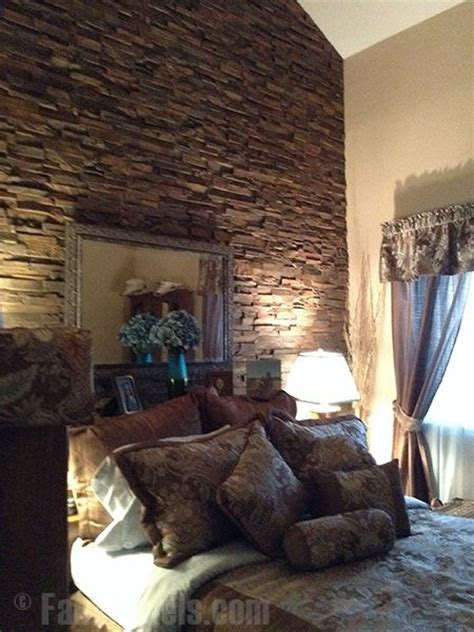 stone accent wall bedroom faux stone panels create a rugged accent wall for a master