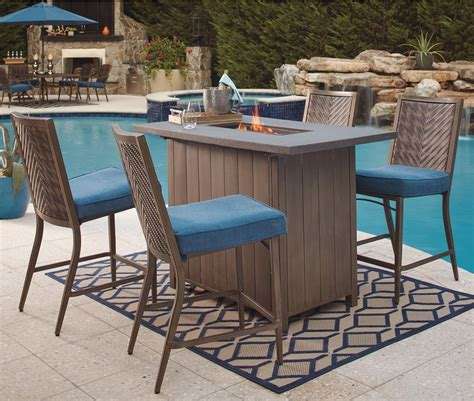 high top patio set with pit signature design by partanna 5 bar table with