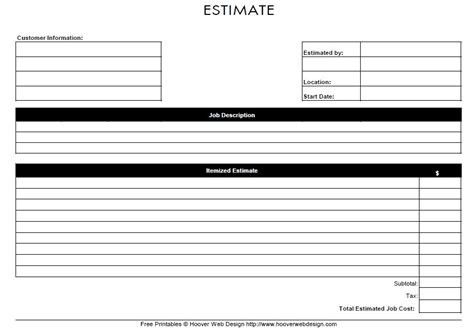 estimate form template 13 free sle estimate form printable sles