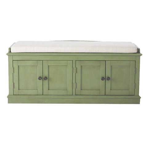 Home Decorators Storage Bench | home decorators collection laughlin antique green storage bench 7721700610 the home depot