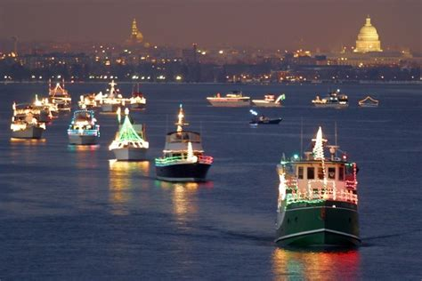 boats decked out with christmas lights to sail the potomac