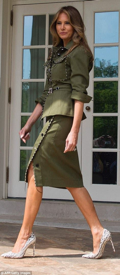 den skirts for 47 yr old melania trump wears edgy military inspired suit daily