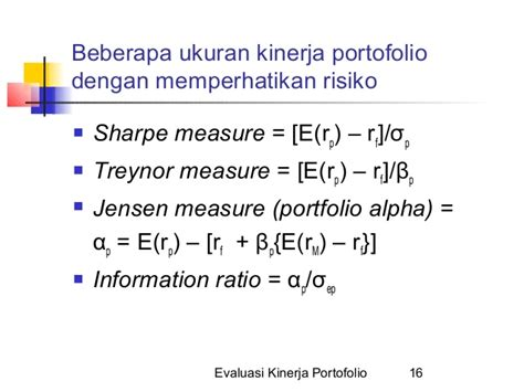 Performance Measurement Ukuran Kinerja 14 evaluasi kinerja portofolio