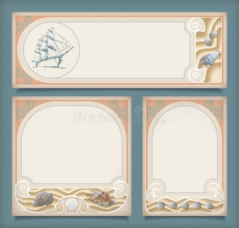 set of vintage nautical sea labels with retro typography set of sea vintage vacation frame banners labels stock