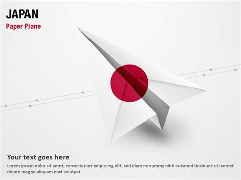 paper plane with japan flag powerpoint map slides paper