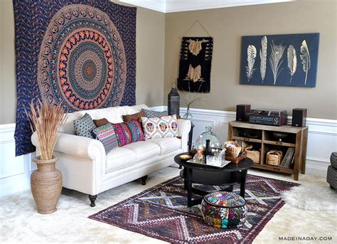 boho living room makeover pop of color with world market made in a day