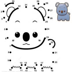 cute baby koala dot to dot free printable coloring pages