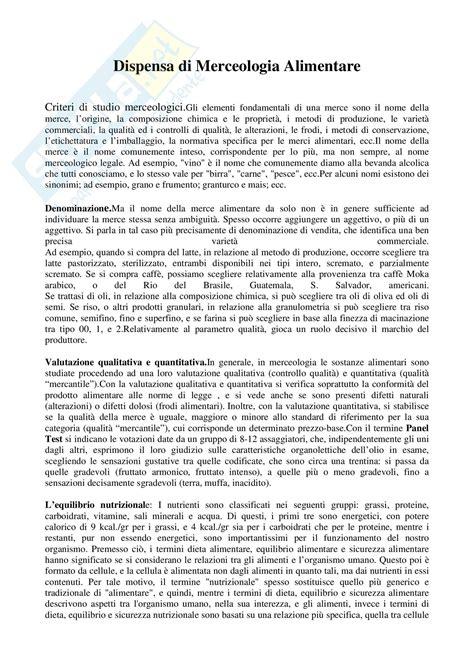 merceologia degli alimenti merceologia alimentare appunti