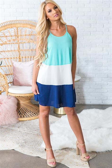 Ready Or Not Dress ready or not color block dress in aqua impressions
