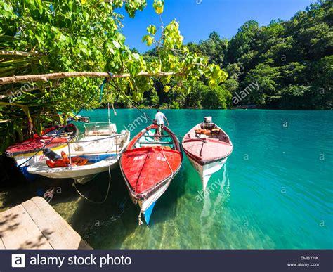 jamaica antonio jamaica antonio boats in the blue lagoon stock
