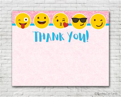 smiley card note template pink sparkles emoji thank you card