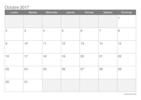 Calendario Lunar Octubre 2017 España Calendario Octubre 2017 Para Imprimir Icalendario Net