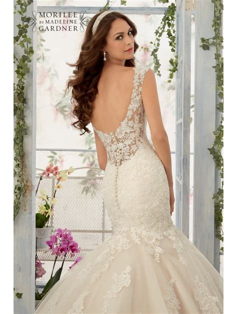 Style Lace by Mori 5407 Mermaid Style Lace Wedding Dress Ivory