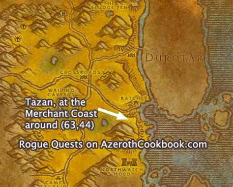 wow boat to ratchet horde rogue level 10 quests the azeroth cookbook