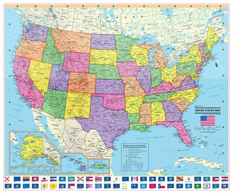 usa size map coolowlmaps united states wall map poster 24 quot x20 quot us flags