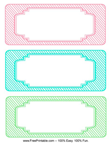 printable gratis customize your free printable blank striped classroom labels