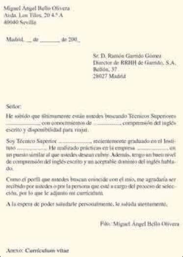 Modelo De Carta De Presentacion Para Un Curriculum Vitae Carta De Presentacion Para Empleo